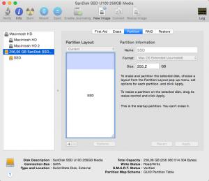 Форматирование внешнего диска для установки Mac OS X.
